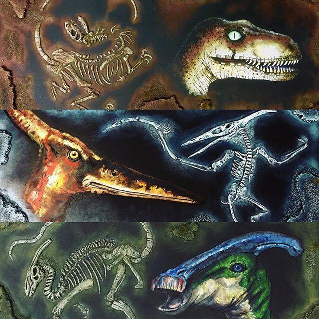 dinosaur mixed media paintings by DaveSchultz