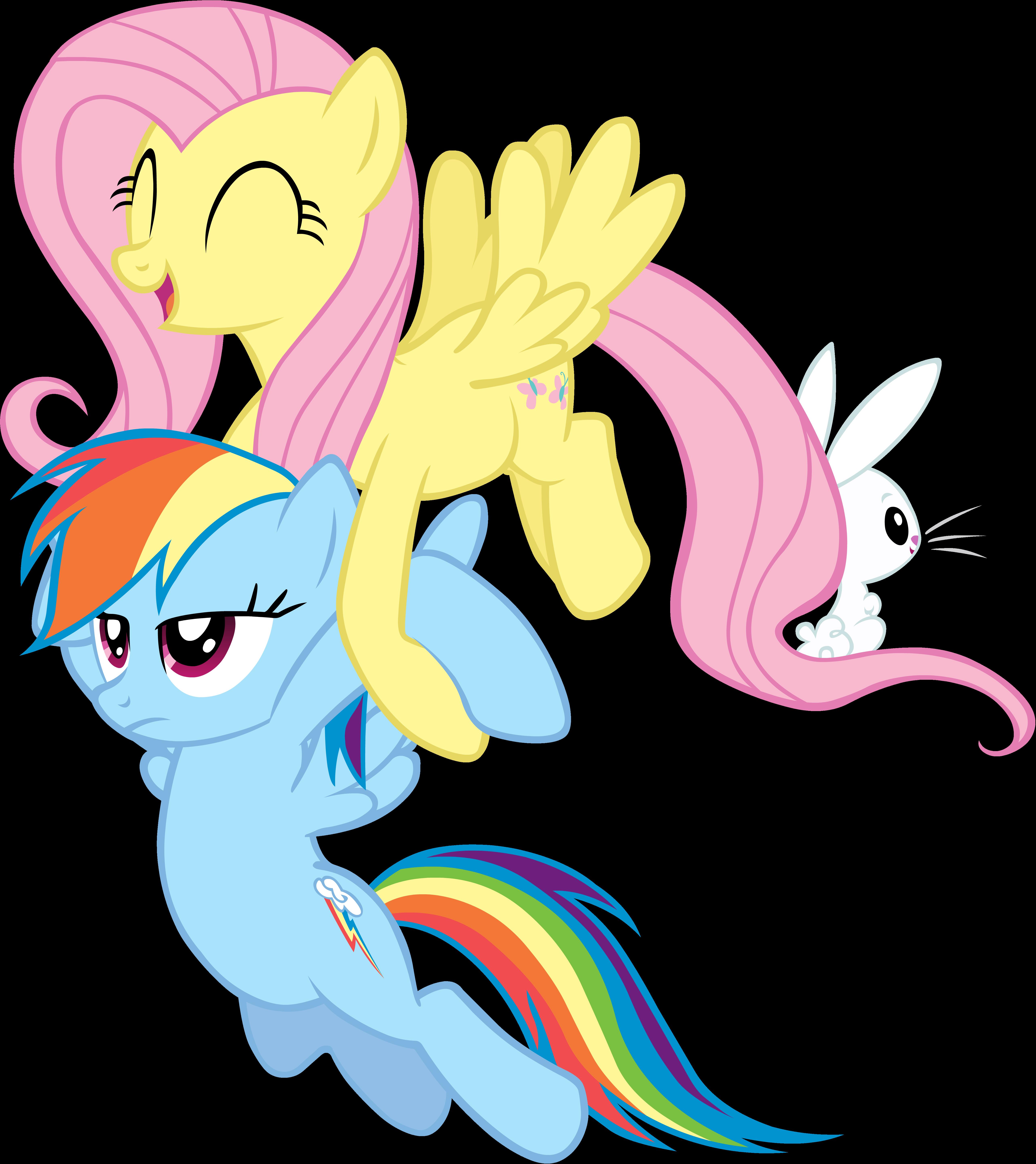 Fluttershy carrying Rainbow Dash Vector
