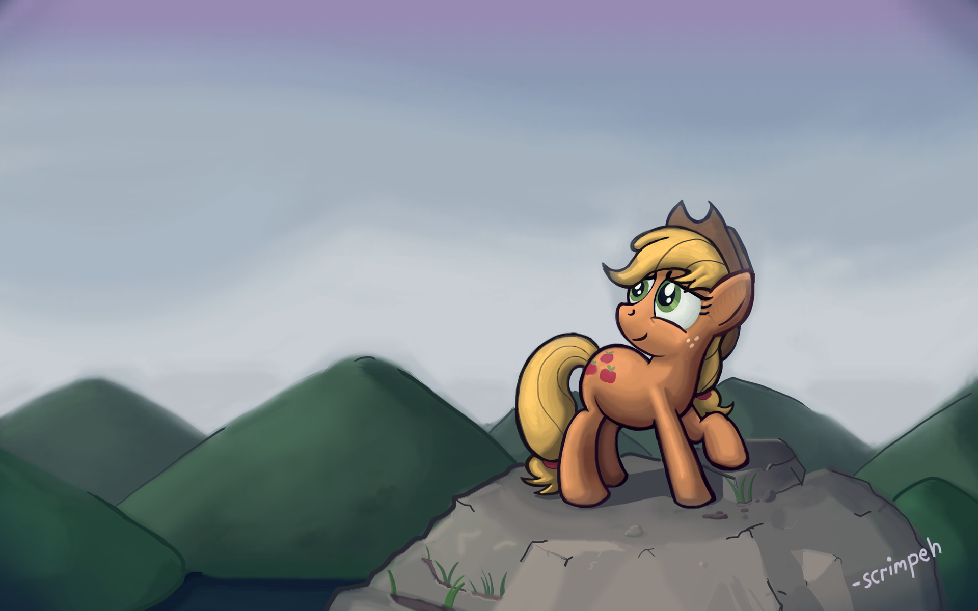 Applejack on a Hill by scrimpeh