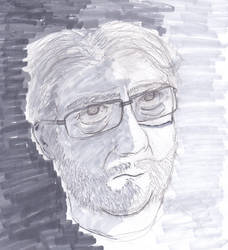 Pencil and marker self portrai