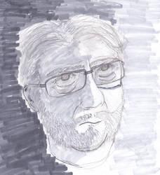 Pencil and marker self portrai by theoddone