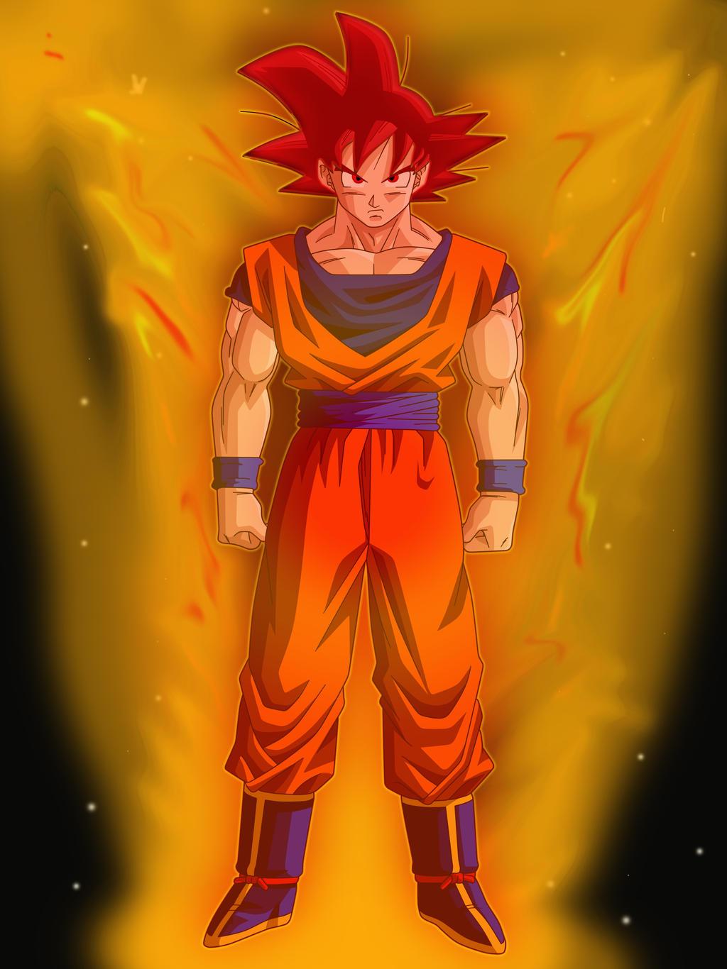 Goku Super Saiyan God By Linkheroofcourage