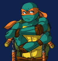Stern Mikey by turtletrashworld