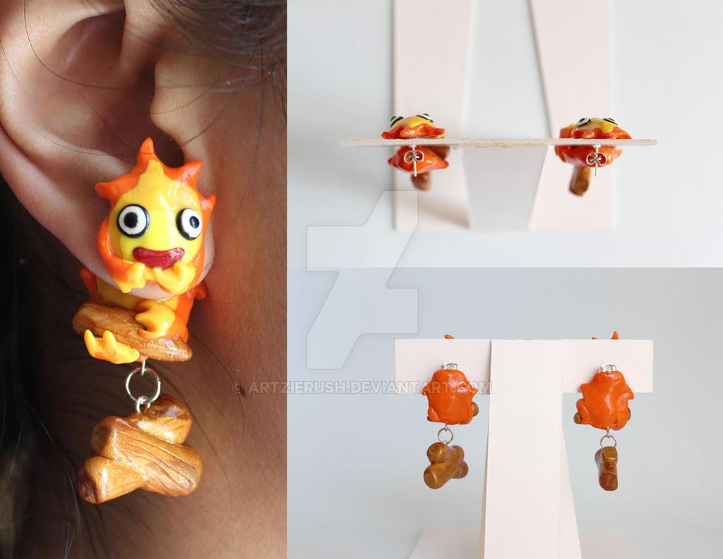 Calcifer Polymer Clay Earrings By Artzierush Calcifer Polymer Clay Earrings  By Artzierush