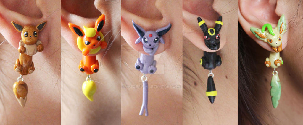Eeveelution Pokemon Polymer Clay Earrings by ArtzieRush