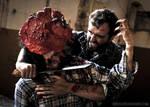 Joel and Clicker, slit throat