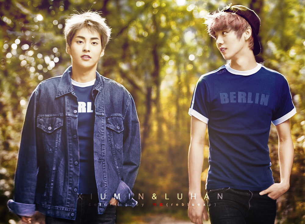 EXO LUHAN XIUMIN black and white photo Colorize by l0vehcl