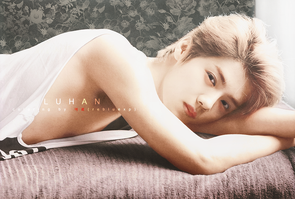 exo LUHAN black and white photo Colorize by l0vehcl