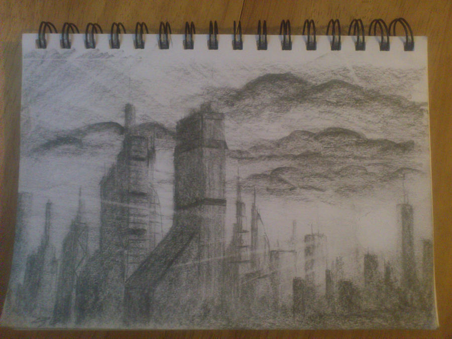 Sunset City (25 min pencil sketch) by SARGY001