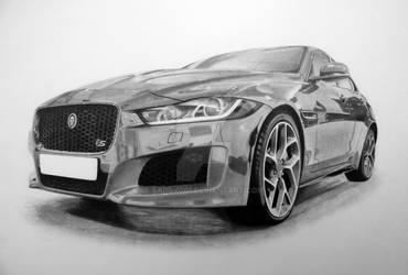 Jaguar XE S artwork in pencil