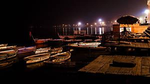 Varanashi Ghat at night by DebasishPhotos