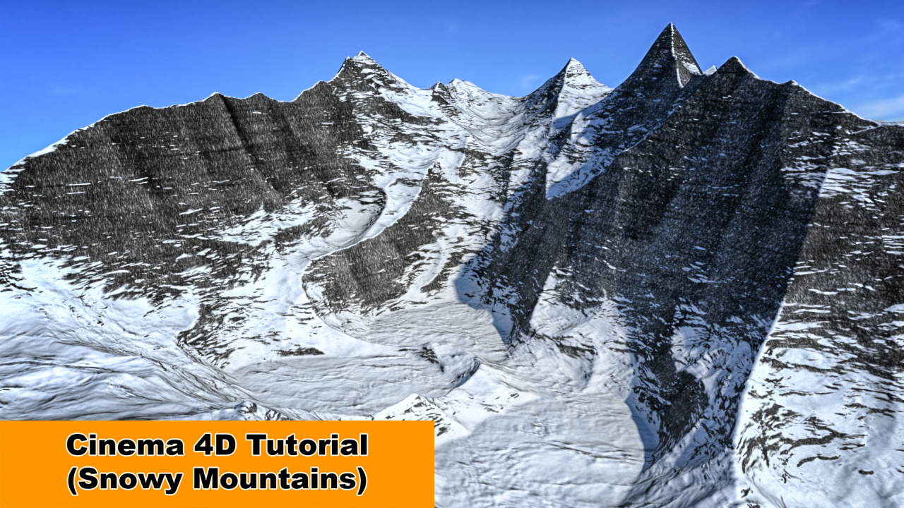 Snowy Mountains and Height-Map (C4D Tutorial) by NIKOMEDIA