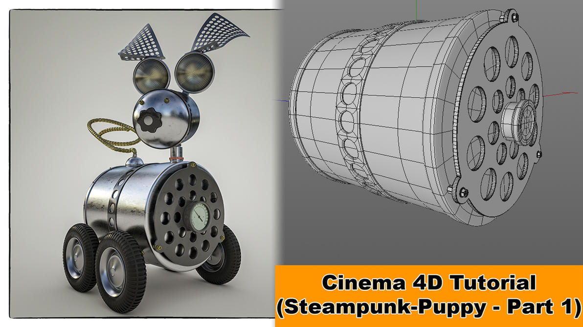 Steampunk Puppy - Part 1 (Cinema 4D - Tutorial) by NIKOMEDIA