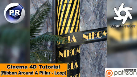 RIBBON AROUND A PILLAR - LOOP (Cinema 4D Tutorial)