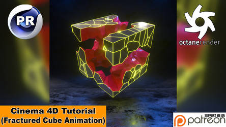FRACTURED CUBE ANIMATION (Cinema 4D Tutorial)