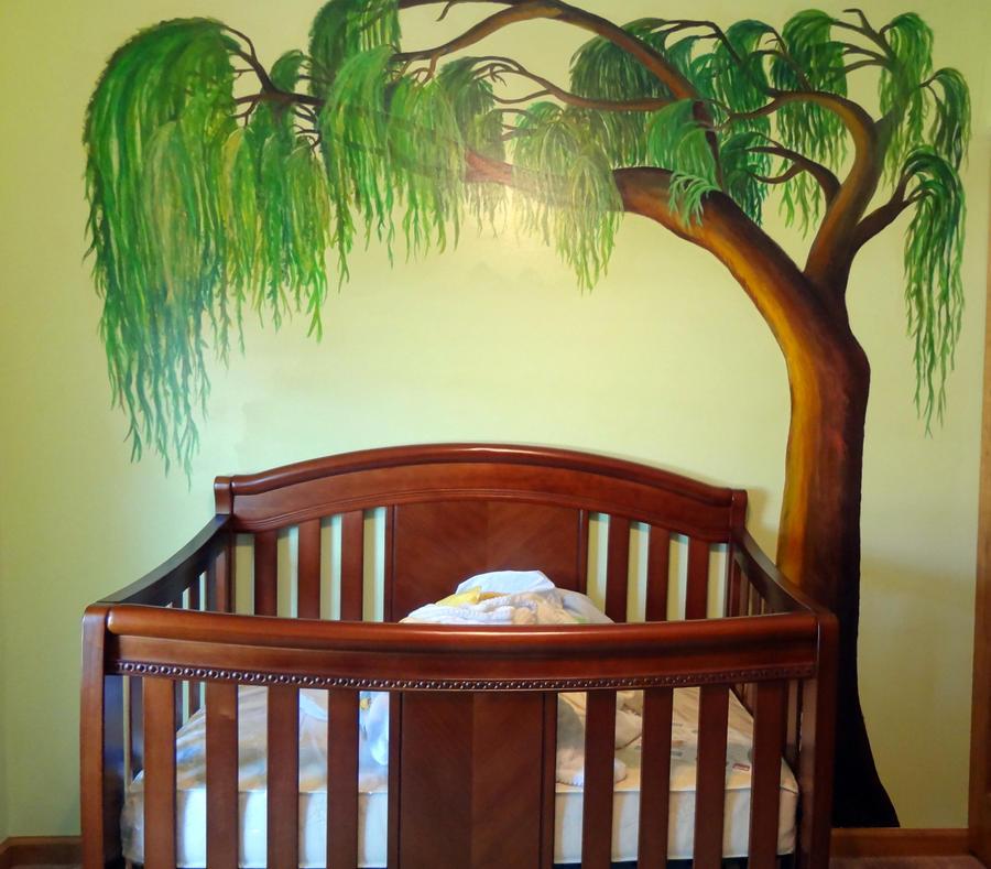Wetland Nursery Mural Willow Tree By Artjmob On Deviantart