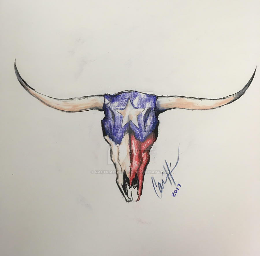 texas longhorn color tattoo design c by nauticalwheeler on deviantart. Black Bedroom Furniture Sets. Home Design Ideas