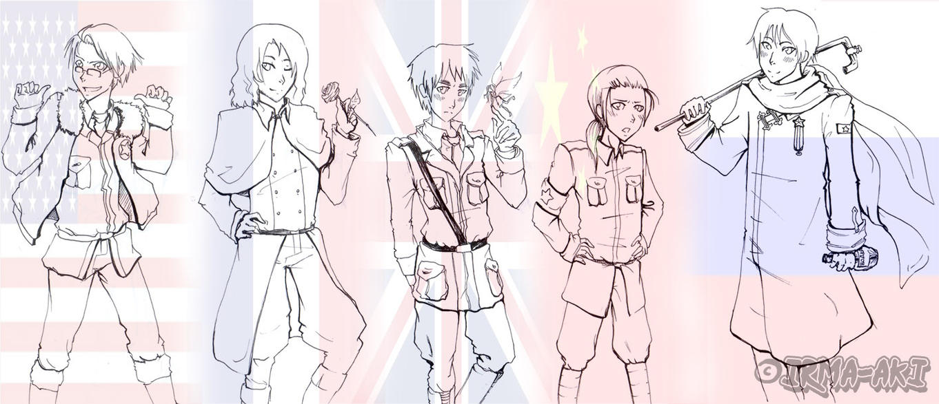 Hetalia coloring pages allies tack