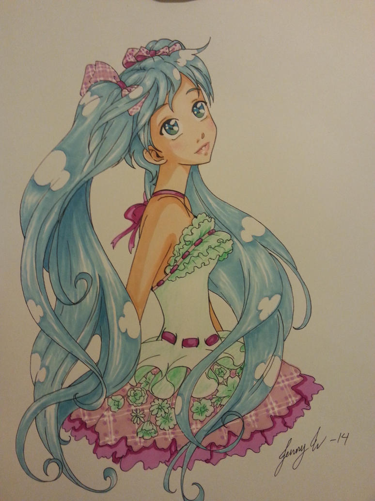 Hatsune Miku ( pencil ) by izaioi