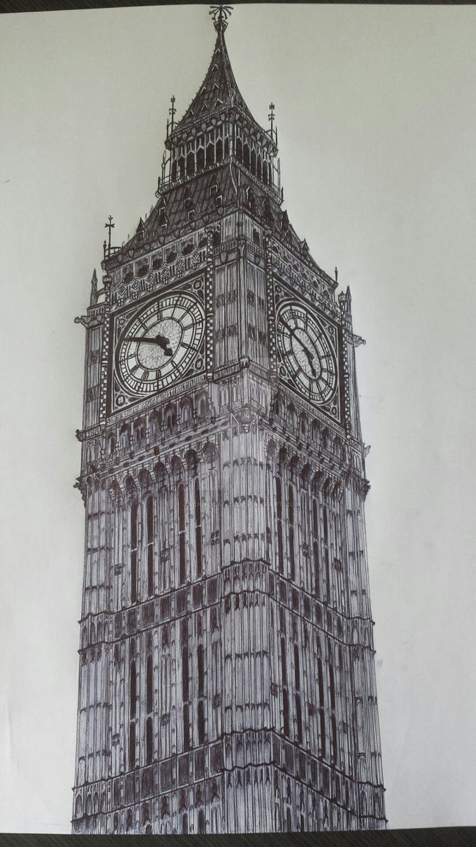 Big ben biro drawing by jacknolan22 on deviantart