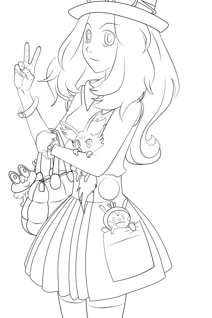 pokemon coloring pages xy - serena pokemon xy lineart by kirakam on deviantart