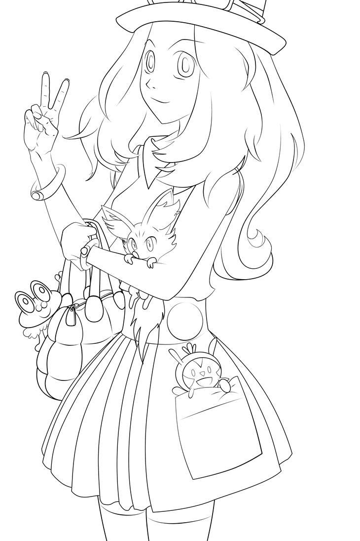 Serena Pokemon XY lineart by kirakam on DeviantArt
