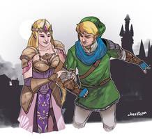 Zelda and Link by SuperJV