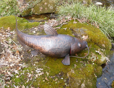 Copper Catfish Sculpture 2
