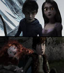 Jack and Punzie Black vs Merida and Hiccup