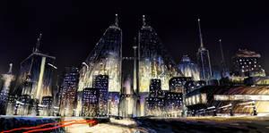 Nightfall City Color Study by Benjamin-the-Fox