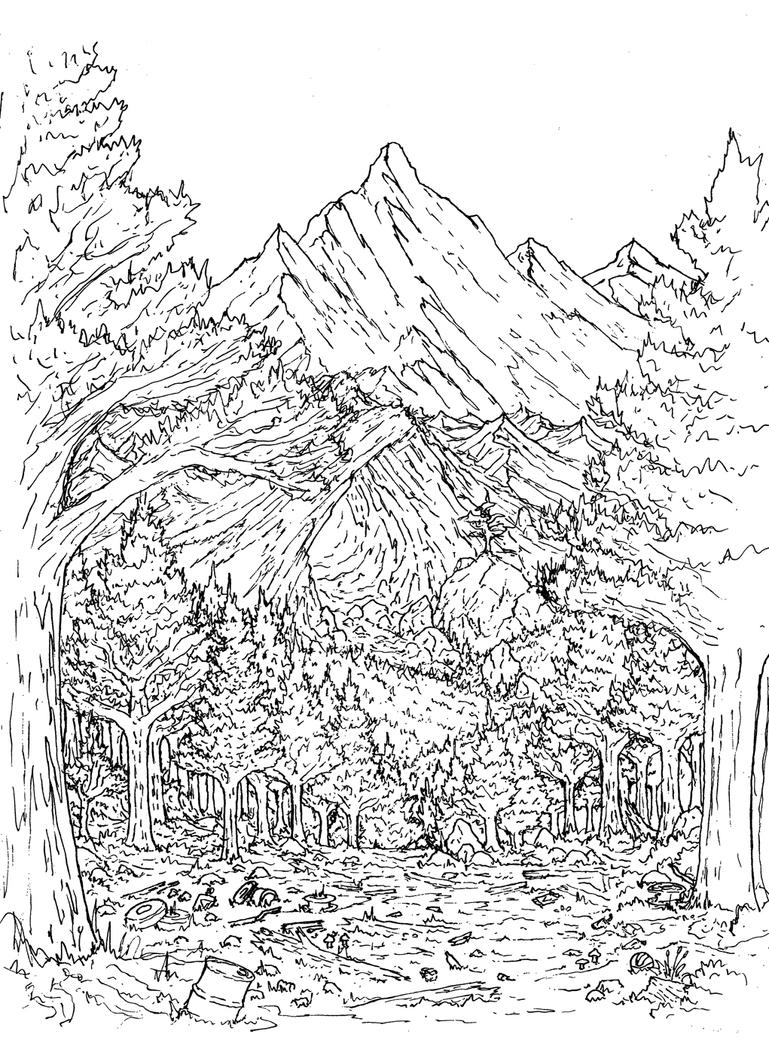 Mountain Time Drawing. by Benjamin-the-Fox
