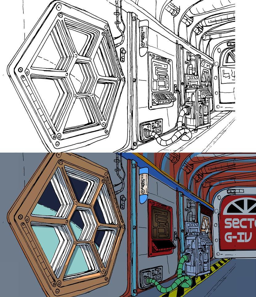 Lamprey Hallway Combined by Benjamin-the-Fox