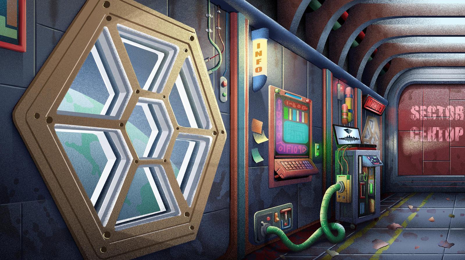Lamprey Hallway Final by Benjamin-the-Fox