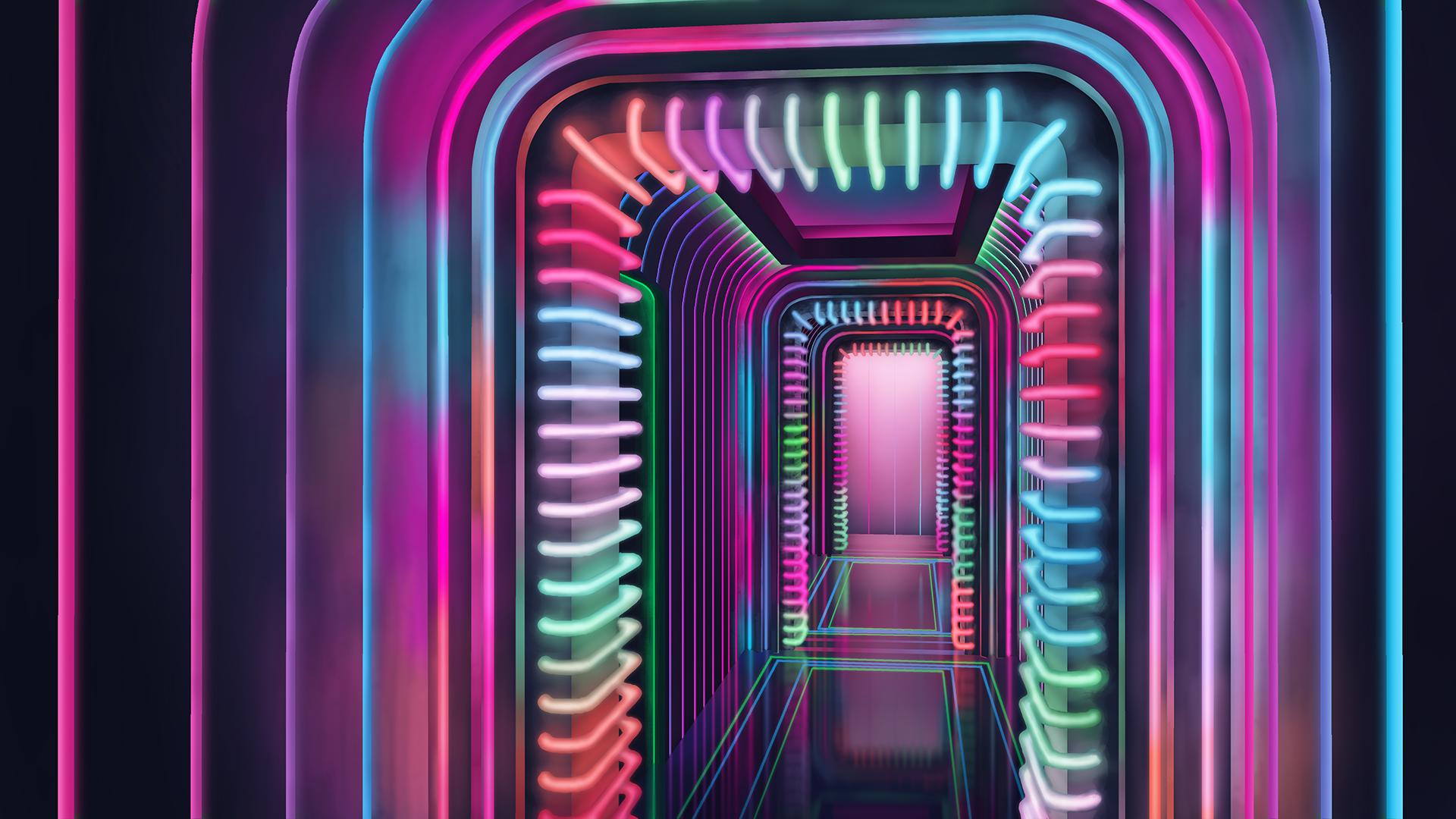 Neon Hallway by Benjamin-the-Fox