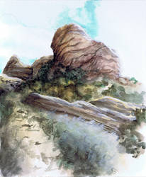 Rock watercolor sketch by Benjamin-the-Fox