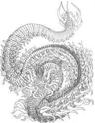 Fire Dragon Linework by Benjamin-the-Fox