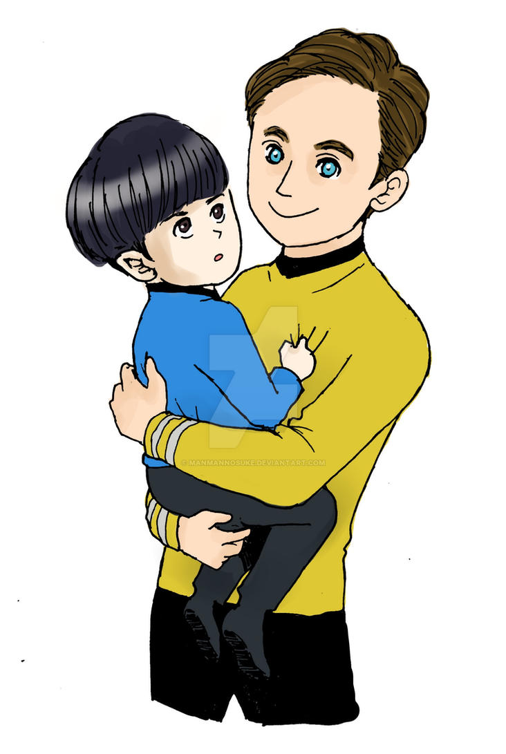 Little Spock and Captain Kirk by manmannosuke