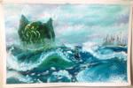 Cthulhu Leaving R'lyeh by My-God-Issa-Girl