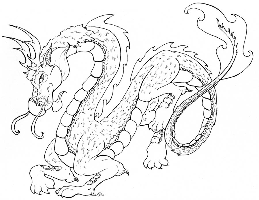 Oriental Dragon- Line Work by AcaciaTree on DeviantArt