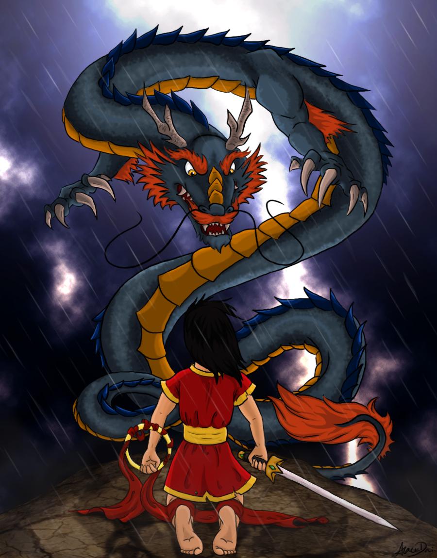 Nezha and the Dragon King by AcaciaTree