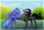 MLP [Fanart] Princess Luna and King Sombra by StormCloud-YT