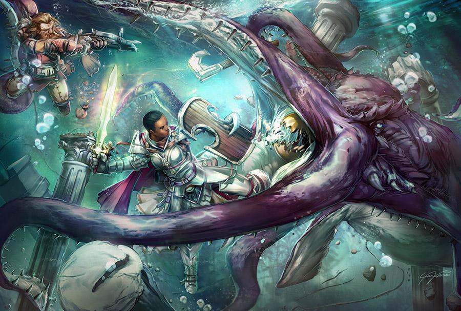 Giant Devilfish Fight by yanimator