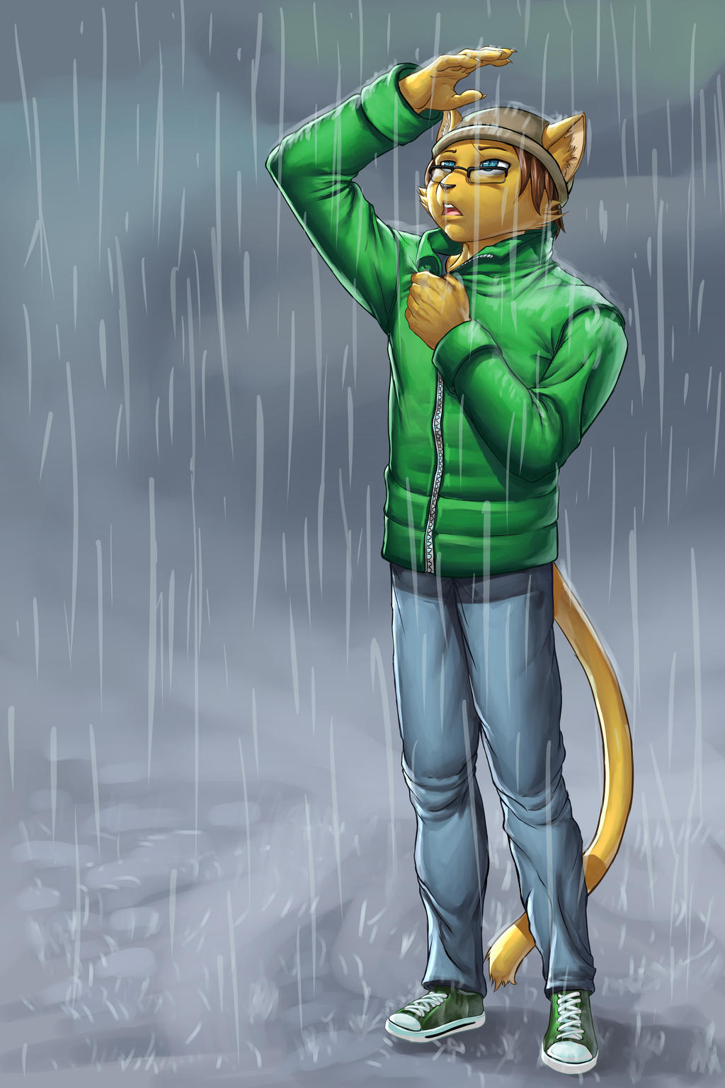 ... Cat lad in the rain -Comission- by faogwolf