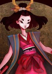 Samurai and Geisha Close up by saratopale