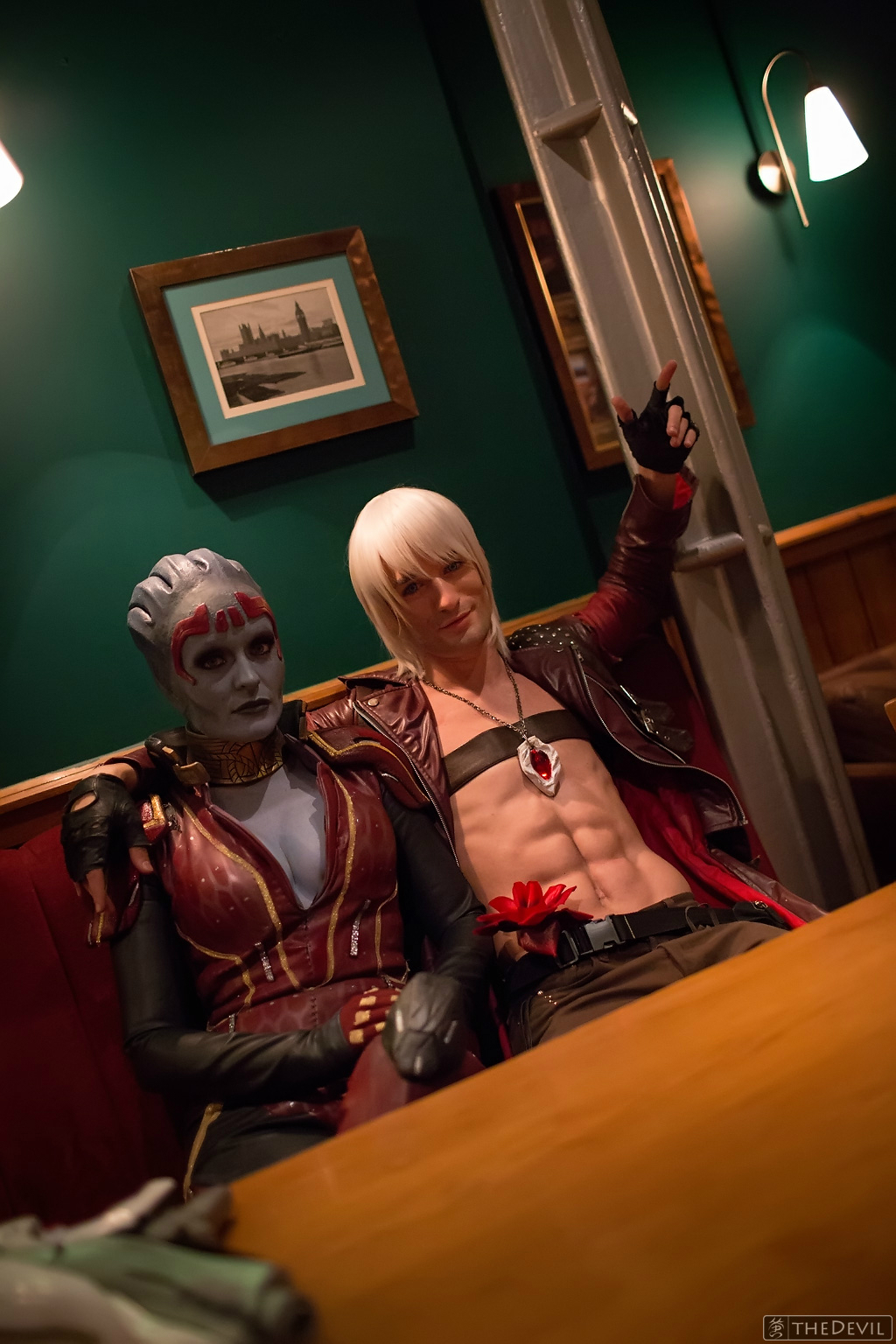 Dante having a drink w Samara Mass Effect Cosplay by LeonChiroCosplayArt