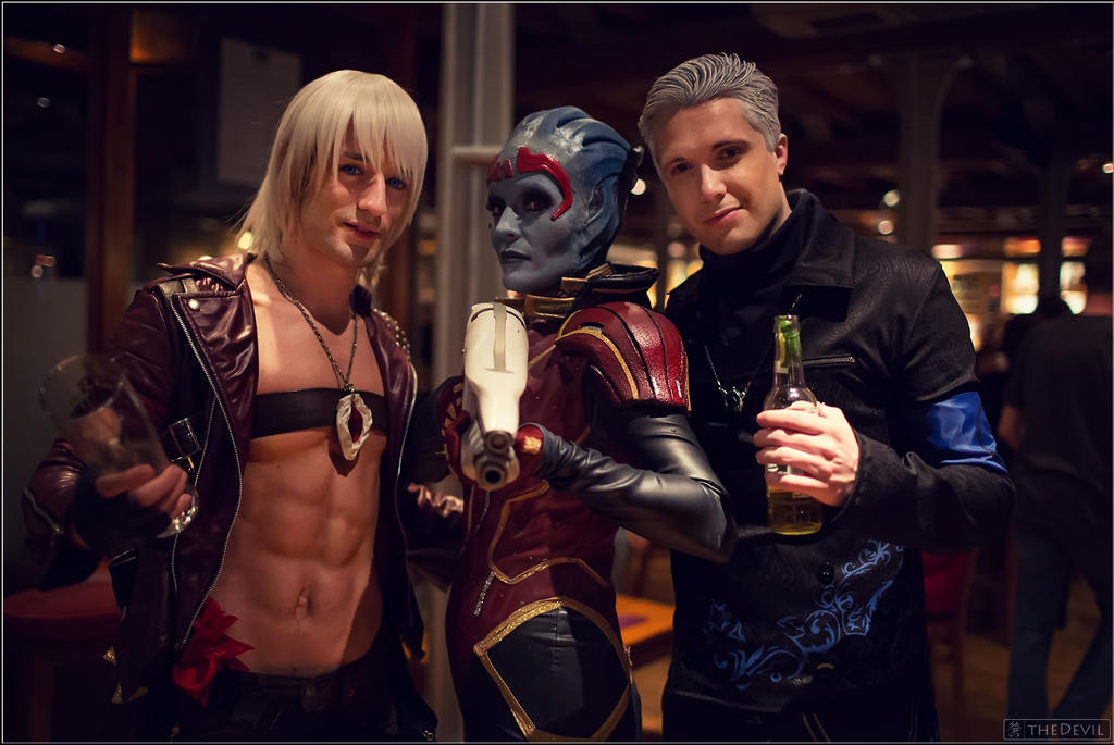 Cosplay Dante w/Vergil having a drink with Samara by LeonChiroCosplayArt