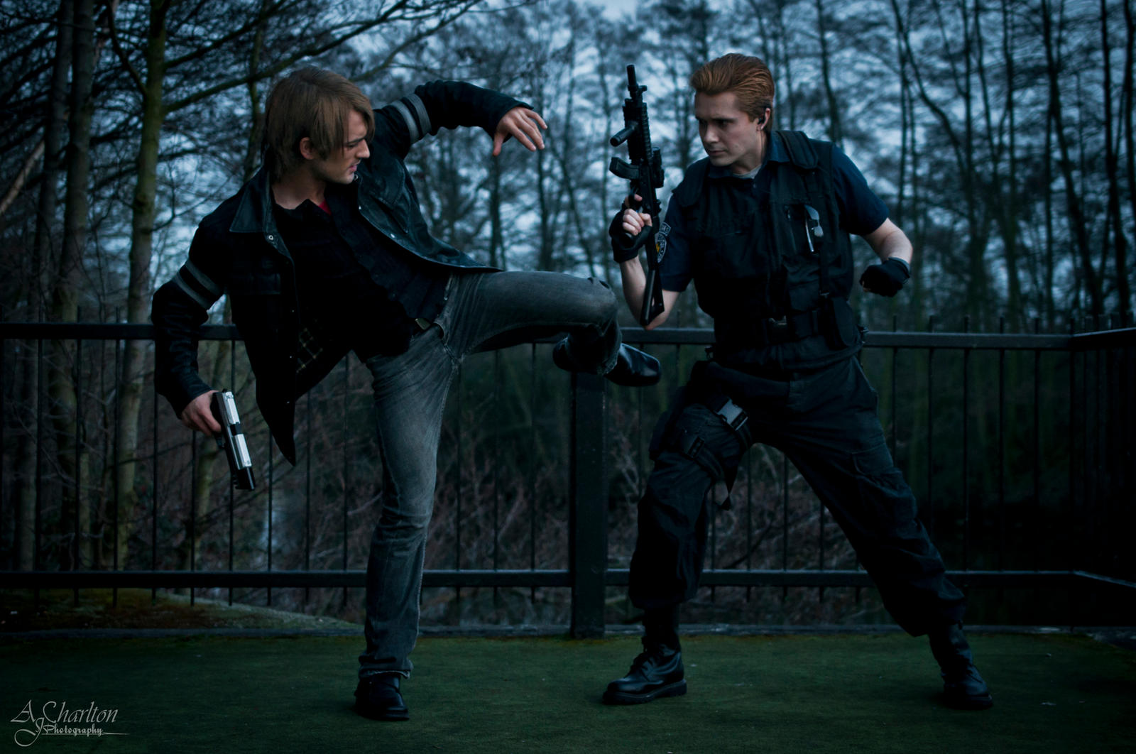Leon S.Kennedy vs Albert Wesker Cosplay RE Saga by LeonChiroCosplayArt