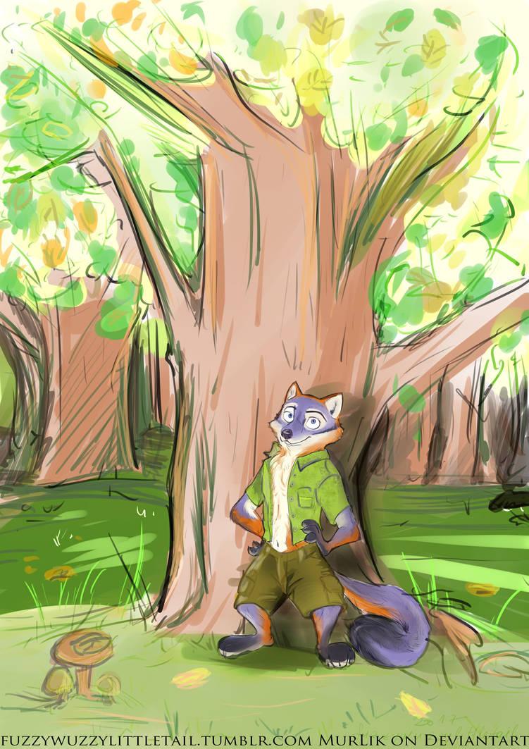 Zootopian Burtan Chilling in the Forest by Murlik