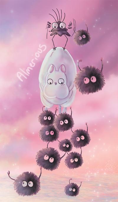 Flying fluff balls