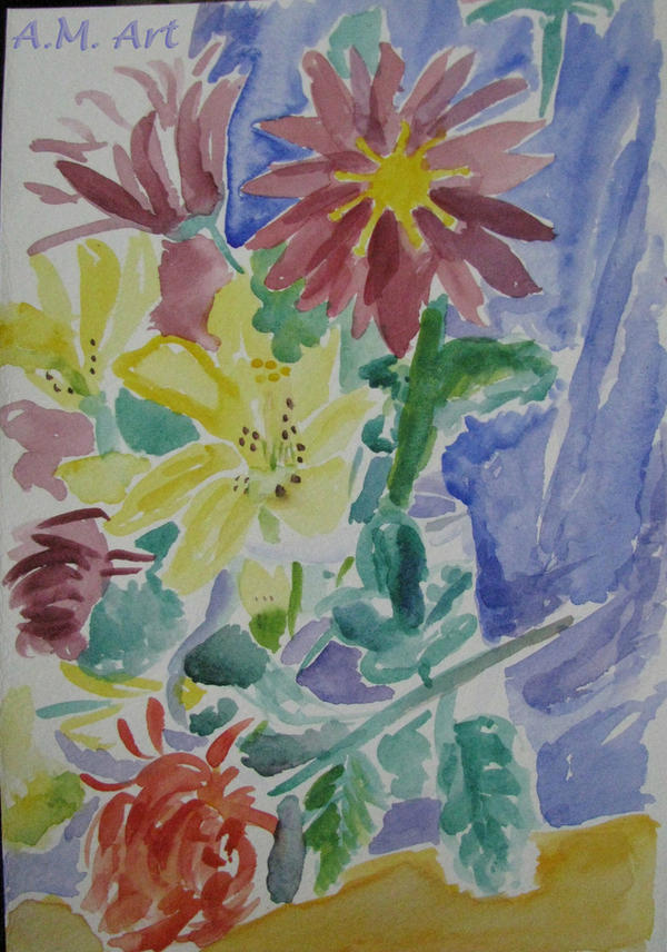 My first quick sketch in watercolor by iwonthelottery on for My first watercolor painting